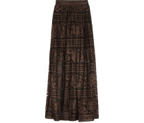 Ora Metallic Cotton-blend Lace Maxi Skirt Bronze