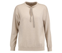 Chain-trimmed Cashmere Sweater Beige