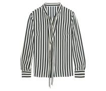 Striped Silk Blouse Navy