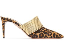 Rendez Vous 75 Leopard-print Suede And Metallic Faux Leather Mules