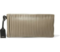 Pintucked leather clutch