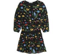 Embroidered crepe de chine mini dress