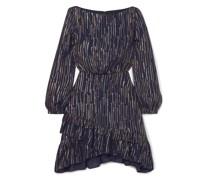Felicia Gestreiftes Kleid aus Einer Seiden-lurex®-mischung mit Rüschen