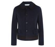 Canvas-trimmed Wool-gabardine Jacket Mitternachtsblau