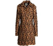 Appliquéd Embroidered Wool-blend Coat Light Brown