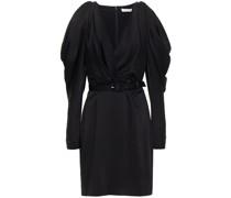Wrap-effect Cold-shoulder Belted Satin Mini Dress