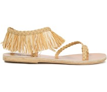 Manto Fringed Raffia And Braided Leather Sandals