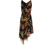 Pharrah Kleid aus Chiffon aus Einer Seidenmischung mit Floralem Print und Wickeleffekt in Metallic-optik