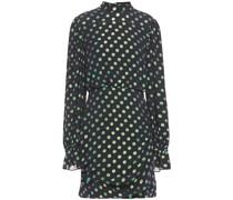 Gathered Metallic Fil Coupé Silk-blend Crepon Mini Dress