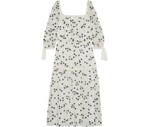 Woman Embroidered Crinkled Cotton And Silk-blend Midi Dress Cream