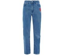Hoch Sitzende Jeans mit Geradem Bein und Stickereien