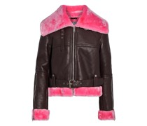 Mandie Faux Shearling-trimmed Leather Biker Jacket