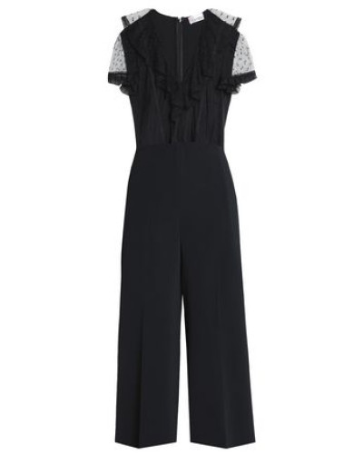 Woman Point D'esprit-paneled Crepe Jumpsuit Black