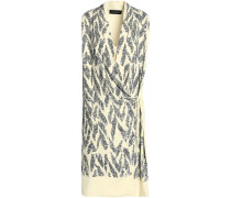 Draped Sequined Crepe Wrap Dress