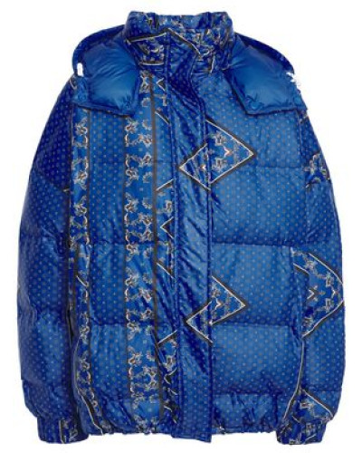 Woman Foxworth Quilted Printed Shell Hooded Down Jacket Royal Blue