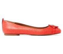 Mini Miller Textured-leather Ballet Flats Papaya