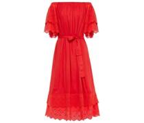 Schulterfreies Kleid mit Lochstickerei und Gürtel