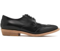 Bead-embellished leather brogues