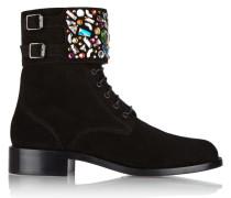 Embellished Suede Ankle Boots Schwarz