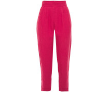 Woman Cropped Linen Tapered Pants Fuchsia