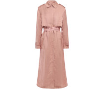 Ribbed-trimmed Twill Trench Coat