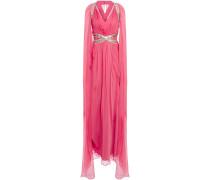 Cape-effect Embellished Silk-chiffon Gown