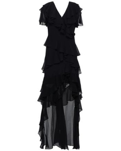 Asymmetric Ruffled Georgette Maxi Dress Black Size 0