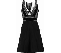 Derya Woven And Velvet-paneled Crepe Mini Dress Schwarz