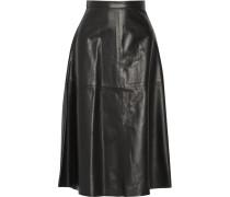 Leather Midi Skirt Schwarz