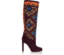 Vicky Suede And Velvet Knee Boots Mehrfarbig