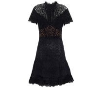 Tiered Gathered Corded Lace Mini Dress