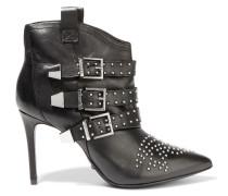 Farfarella Studded Leather Ankle Boots Schwarz