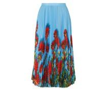 Sax Pleated Floral-print Crepe De Chine Midi Skirt