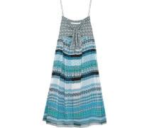 Tie-front printed silk-georgette dress