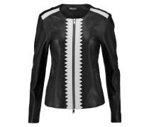 Laser Cut-trimmed Leather Jacket Schwarz