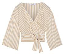 Cropped Striped Cotton-poplin Wrap Top