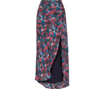 Floral-print Silk Maxi Skirt Lila