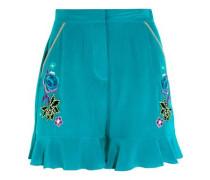 Sakura embroidered silk crepe de chine shorts