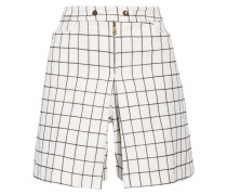 Checked Brushed-cotton Shorts Weiß