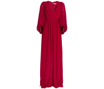 Woman Gathered Pleated Crepe De Chine Gown Claret