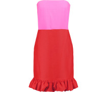 Strapless Ruffled Silk And Crepe Dress Rot