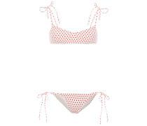 Nicole Polka-dot Stretch-crepe Bikini
