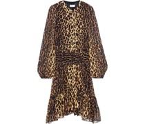 Sidney Asymmetrisches Kleid aus Seidenkrepon mit Leopardenprint und Raffung