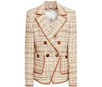 Doppelreihiger Blazer aus Bouclé-tweed mit Metallic-effekt
