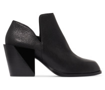 Pan Textured-leather Ankle Boots Schwarz