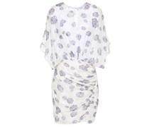 Ruched Metallic Fil Coupé Floral-print Chiffon Mini Dress