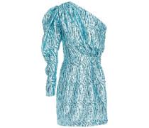 One-shoulder Sequin-embellished Satin Mini Dress