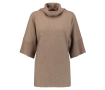 Ribbed Cashmere And Silk-blend Turtleneck Sweater Sand