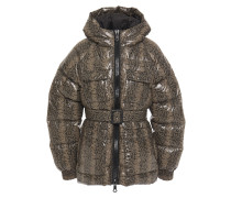 Berlin Quilted Snake-print Shell Down Hooded Jacket