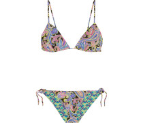 Reversible Printed Triangle Bikini Blau